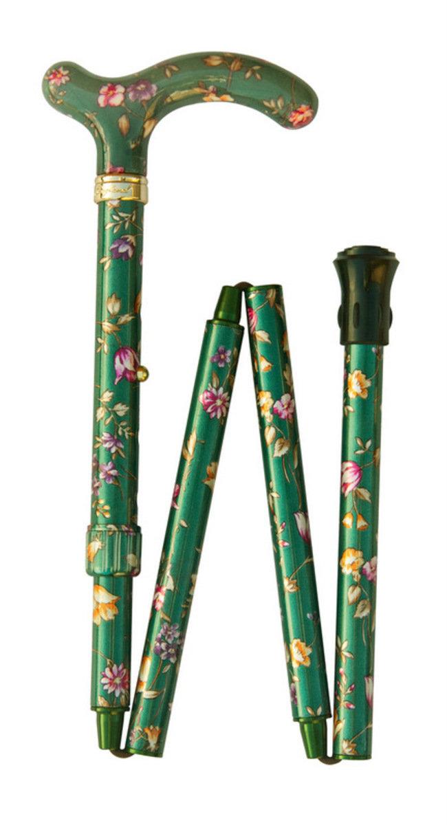 纖巧可摺式手杖 ﹣ 綠色花