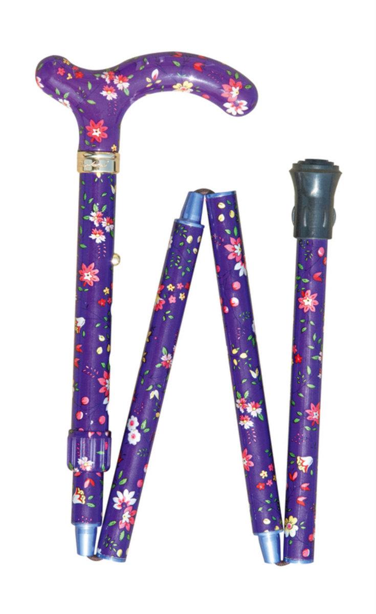 纖巧可摺式手杖 ﹣ 紫色花