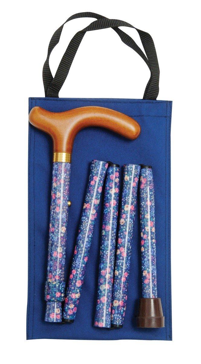 可摺式手杖連袋套裝 - 藍花
