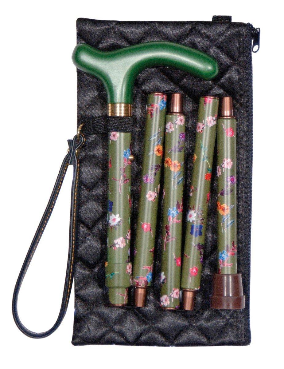 可摺式手杖連袋及手繩套裝 ﹣ 綠花