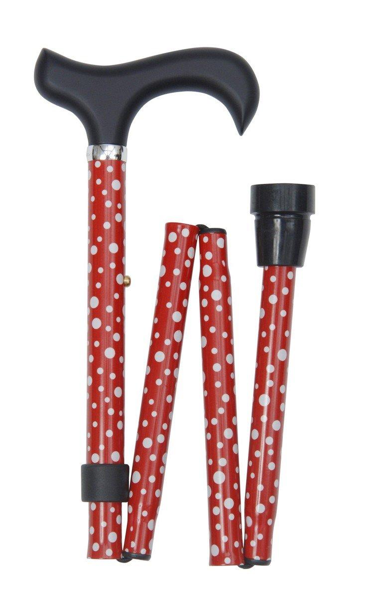 可摺式手杖 ﹣ 紅色白圓點