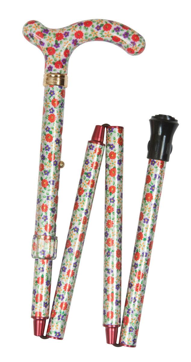 纖巧可摺式手杖 ﹣ 橙紫碎花