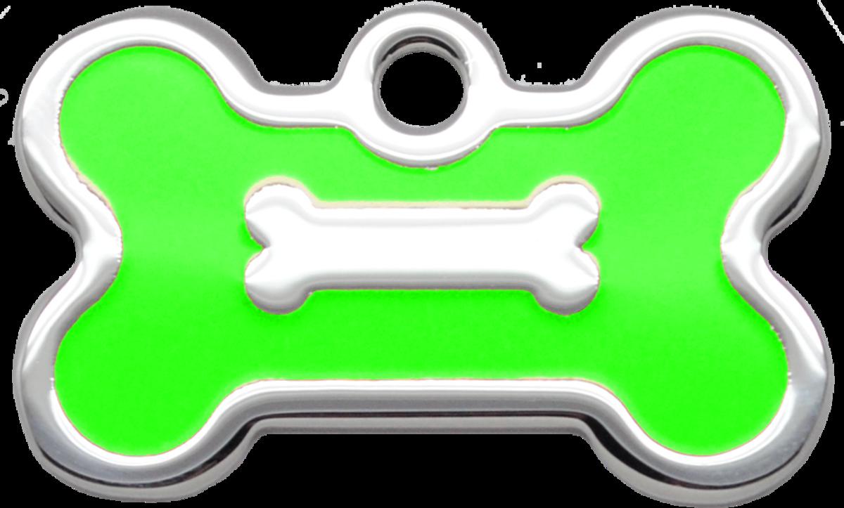 螢光綠水磨膠迷你狗骨