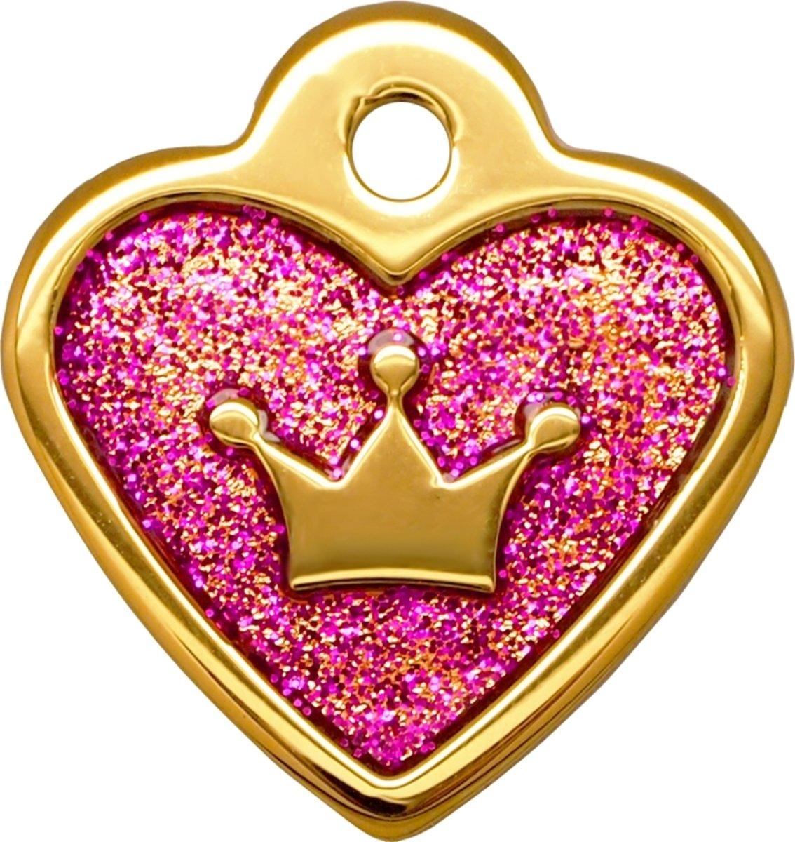 金色小心皇冠牌紫玫瑰滴膠閃粉