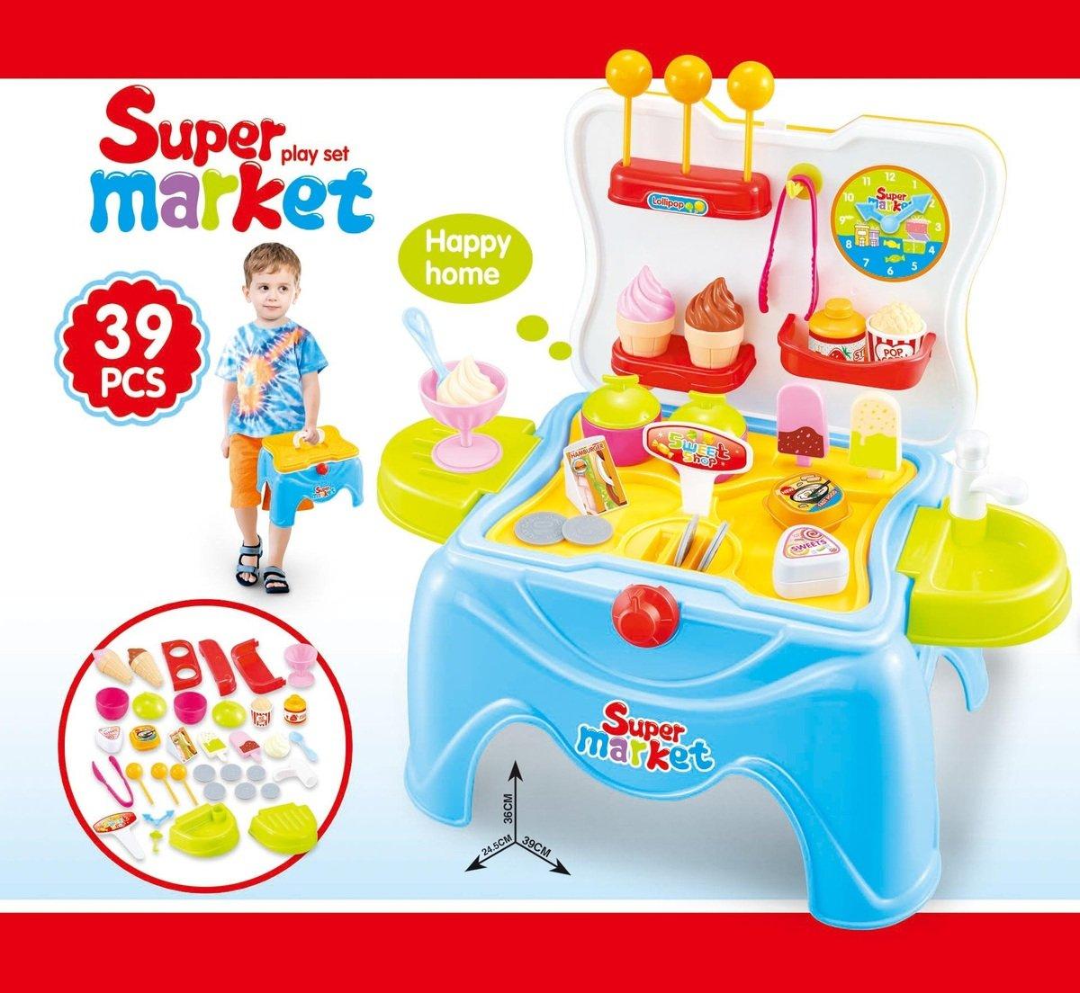 手提盒雪糕超市組合套裝椅 (藍色)