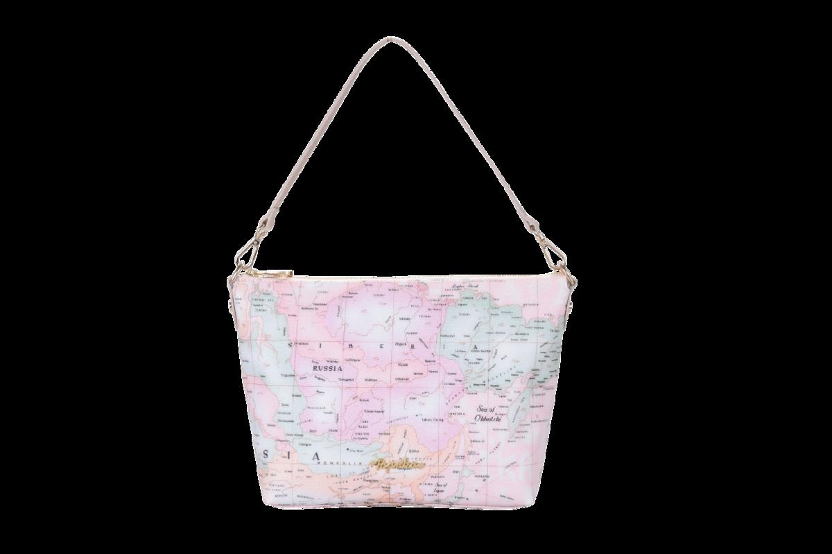 經典粉紫地圖單肩包