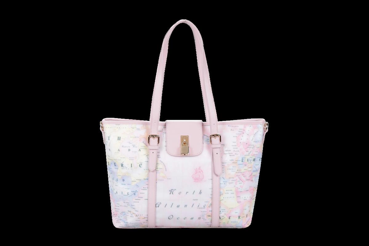 櫻花粉紅地圖單肩包
