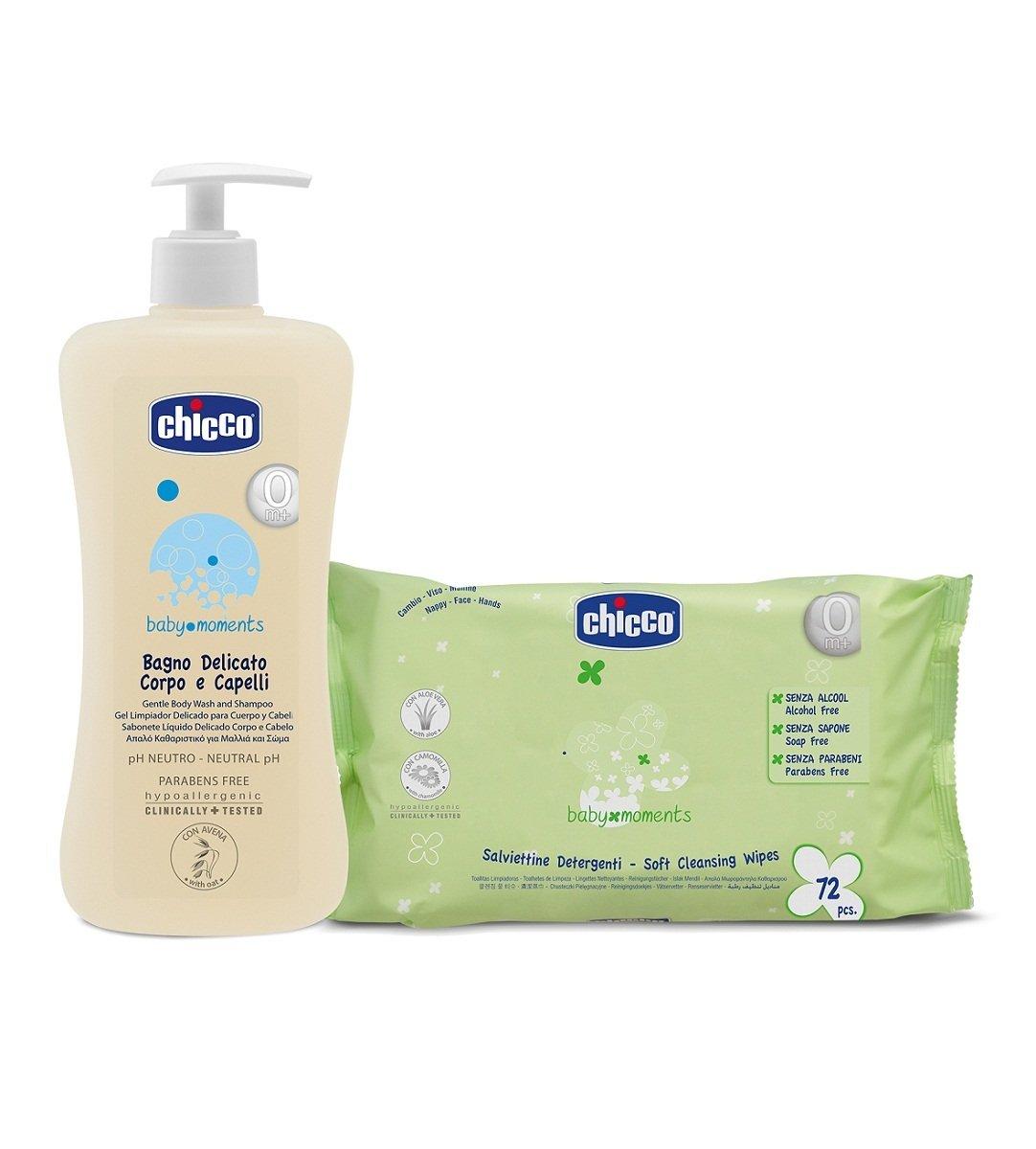 溫和洗髮沐浴清潔露500ml + 清潔濕巾72片裝