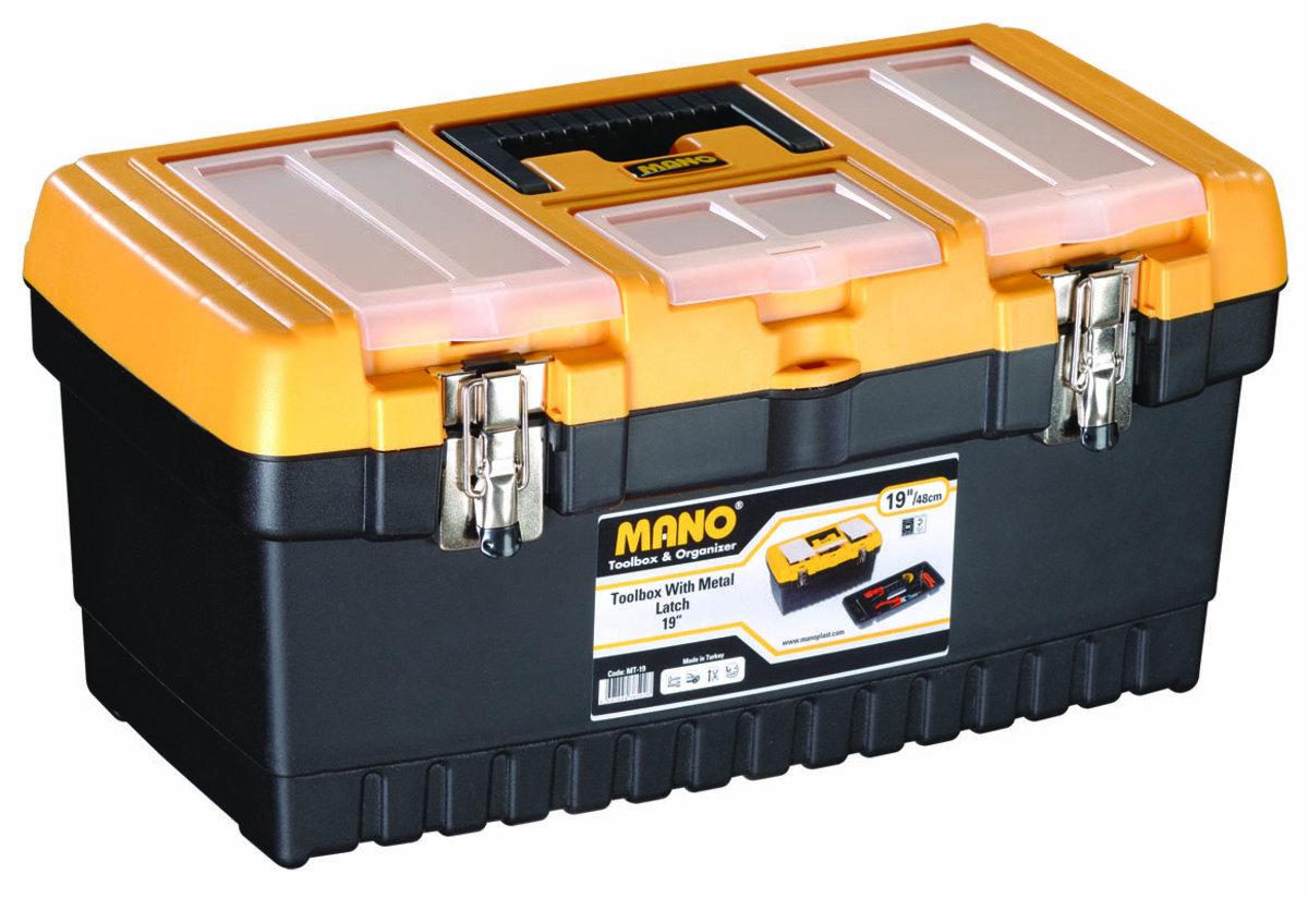 """MT-19 MANO 19"""" 雙鐵扣工具箱"""