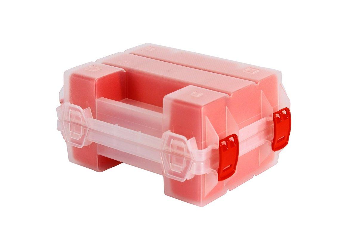 TS-ORG-7R MANO 摺合式多格工具盒 (12格) 透明紅色