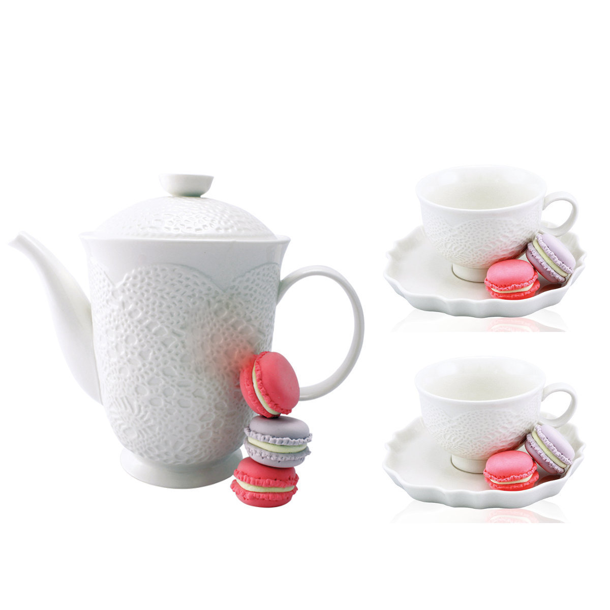 白色立體古典蕾絲茶壺1個 + 白色立體古典蕾絲茶杯及茶杯碟2套