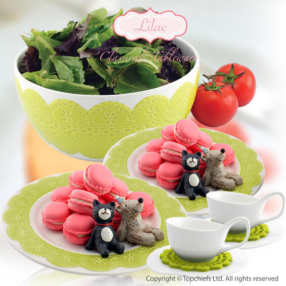 綠色立體蕾絲餐碟x2+ 白色茶杯套裝配絨毛杯墊 x2 + 綠色立體蕾絲碗20cm x1