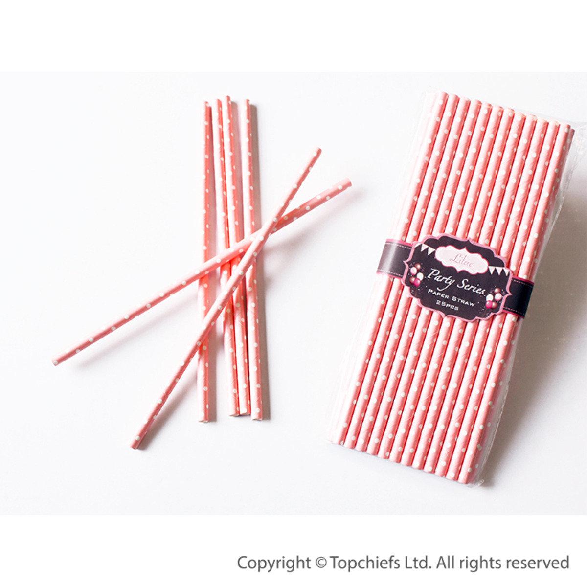 繽紛紙吸管 (深粉紅色底, 白色波點) 50pcs/PACK