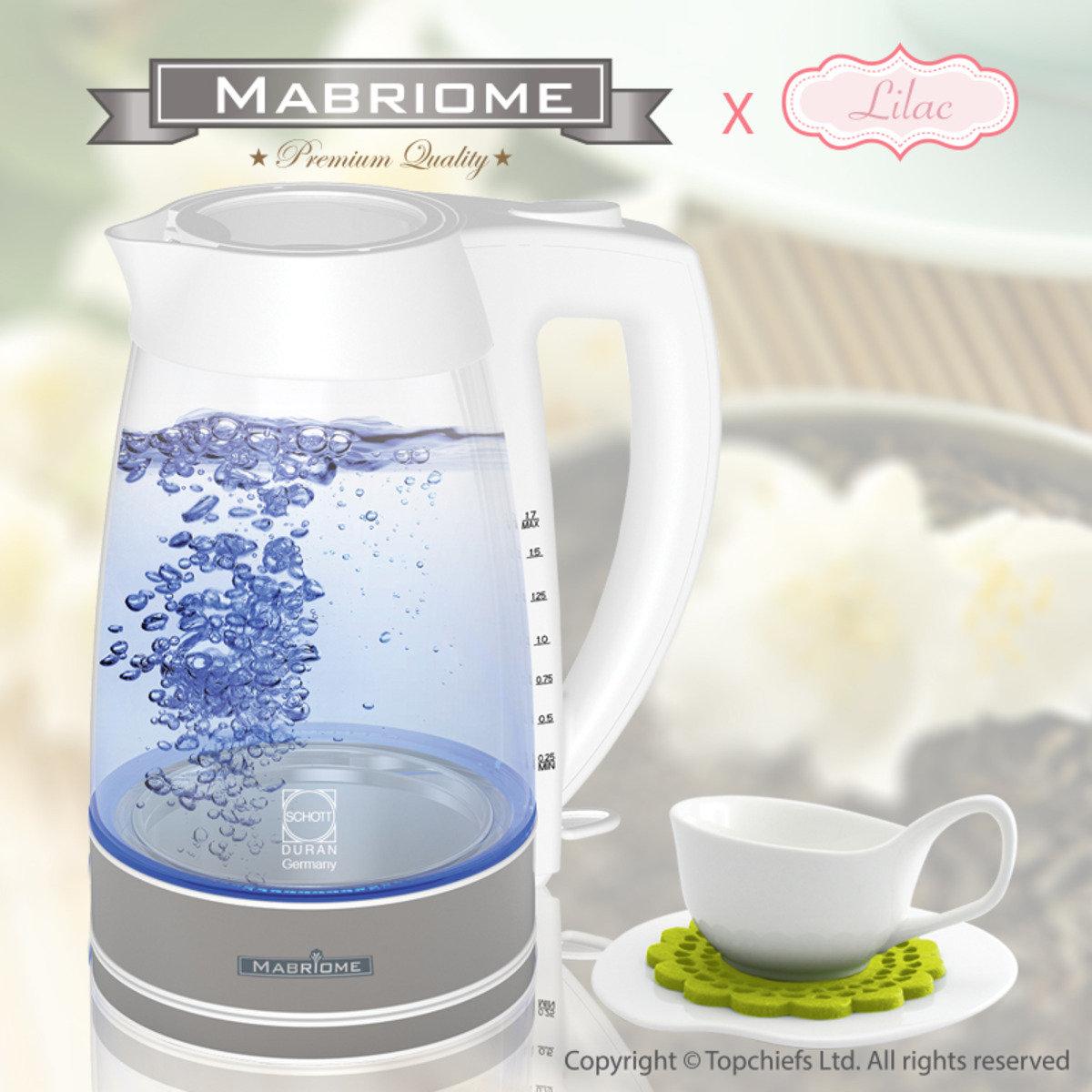 電熱玻璃水煲(發藍光) + 白色茶杯套裝配絨毛杯墊