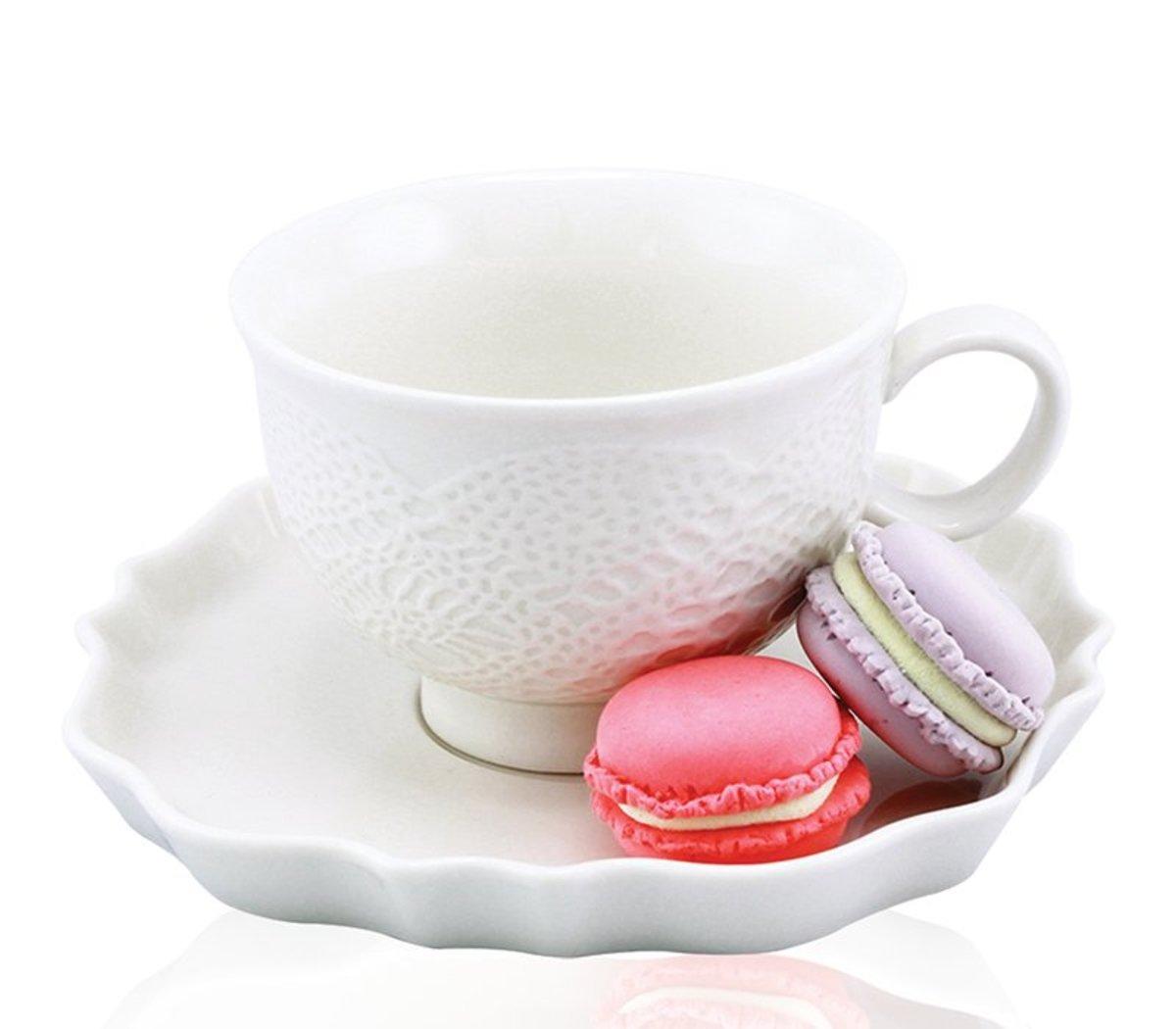 白色立體古典蕾絲茶杯及碟