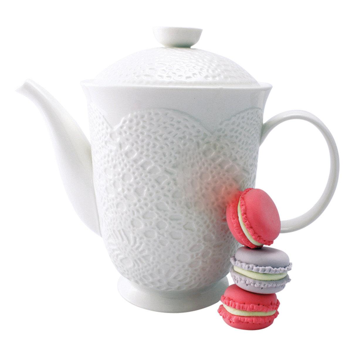 白色立體古典蕾絲茶壺