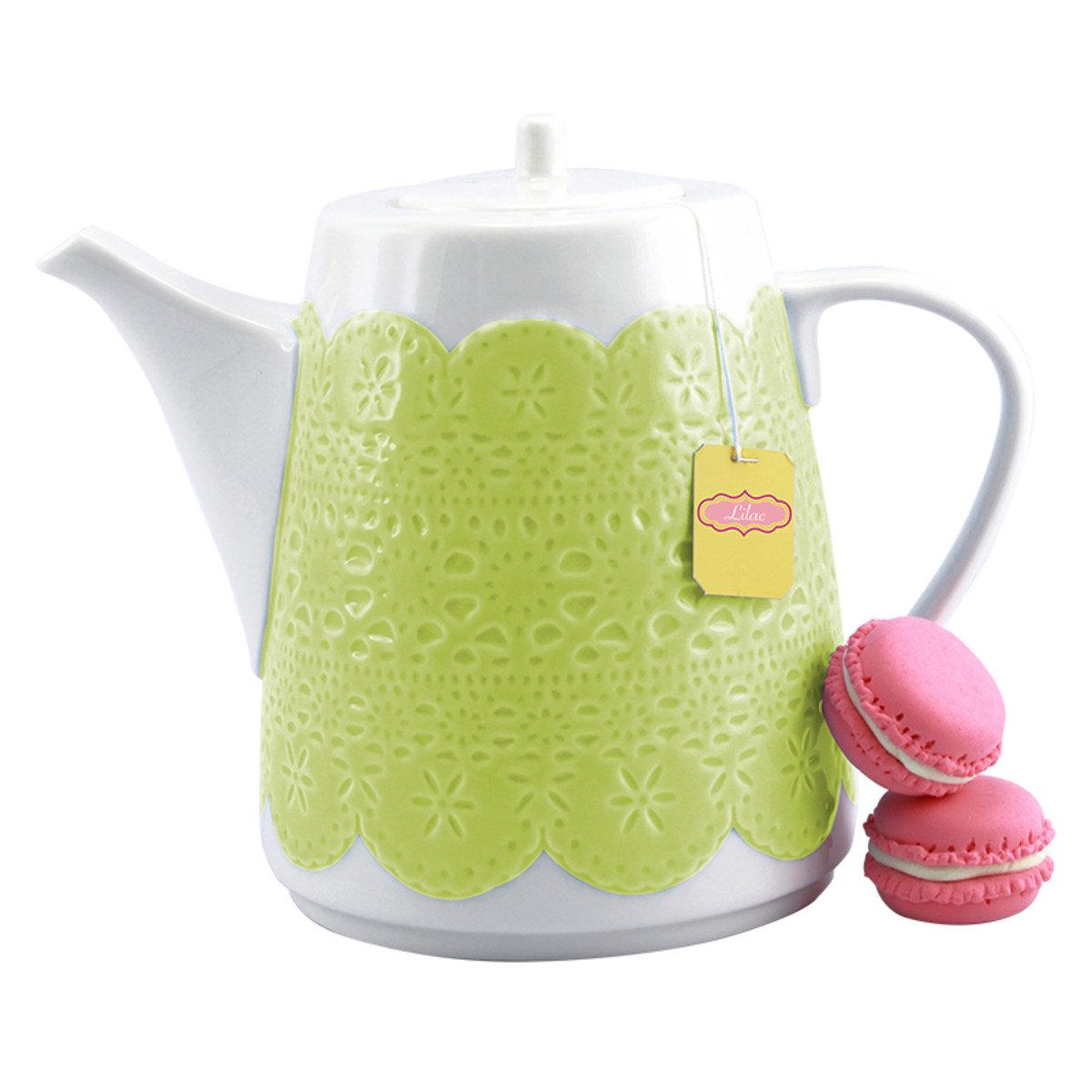 綠色立體蕾絲茶壺