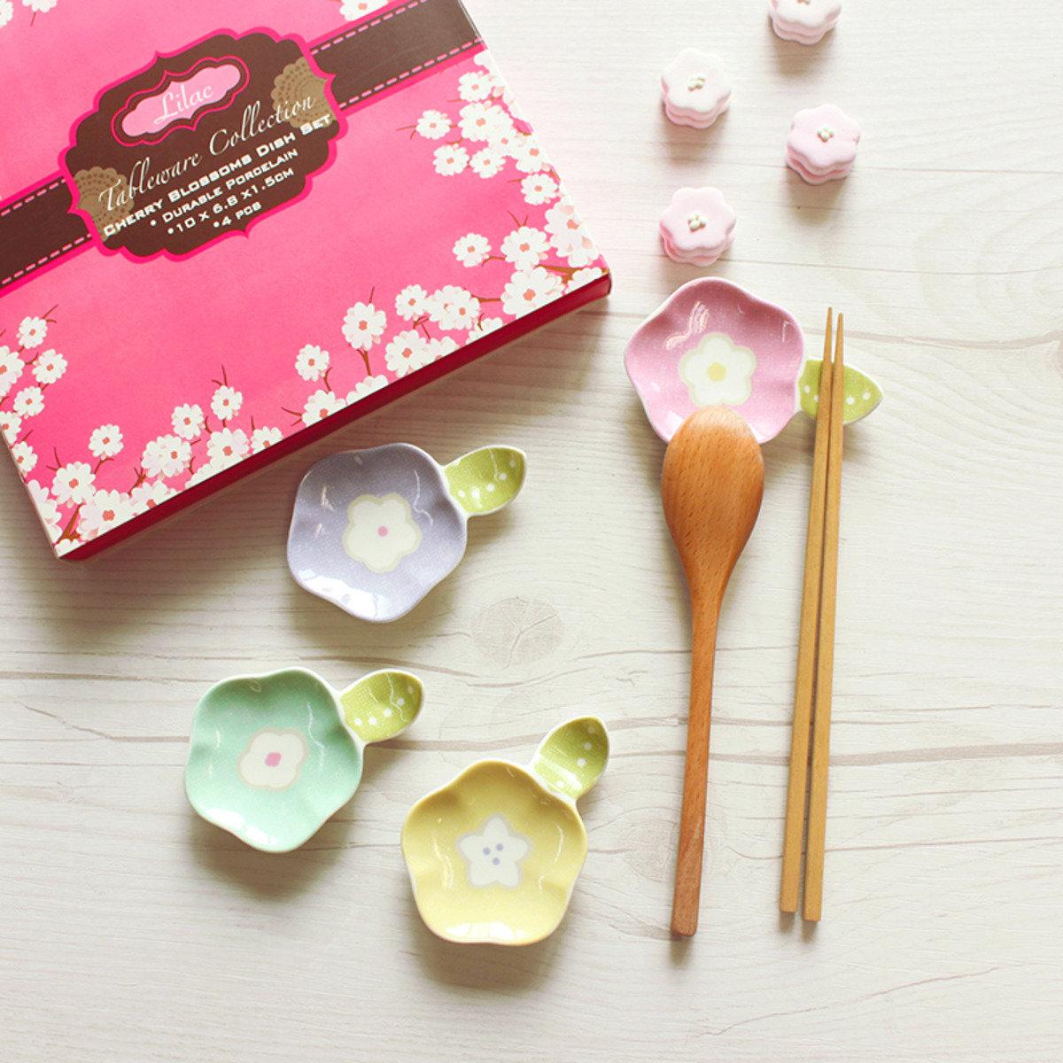 日式櫻花筷子碟套裝(一套共4色)