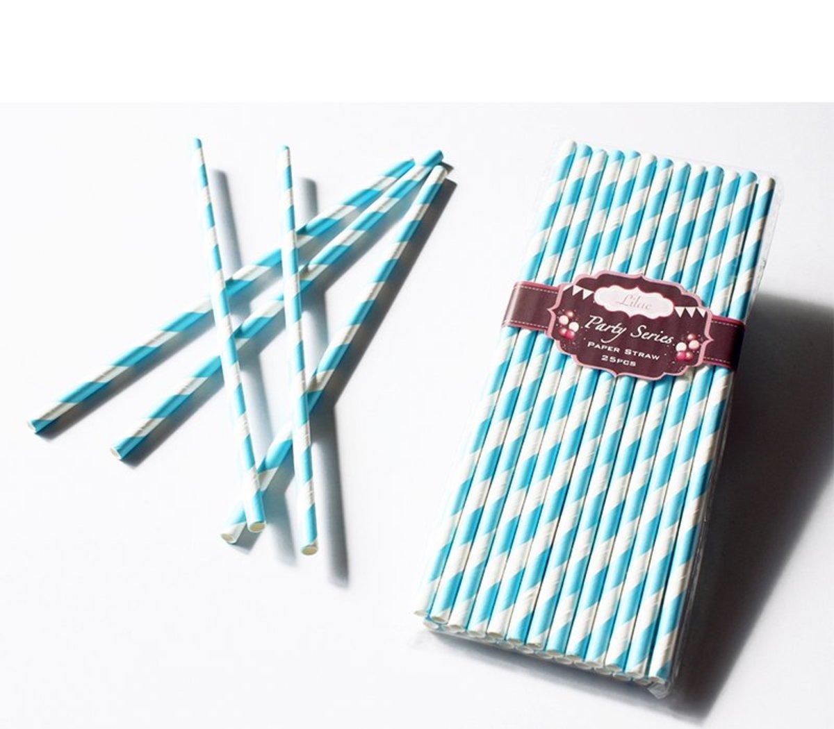 繽紛紙吸管 (淺藍色斜紋) 50pcs/PACK