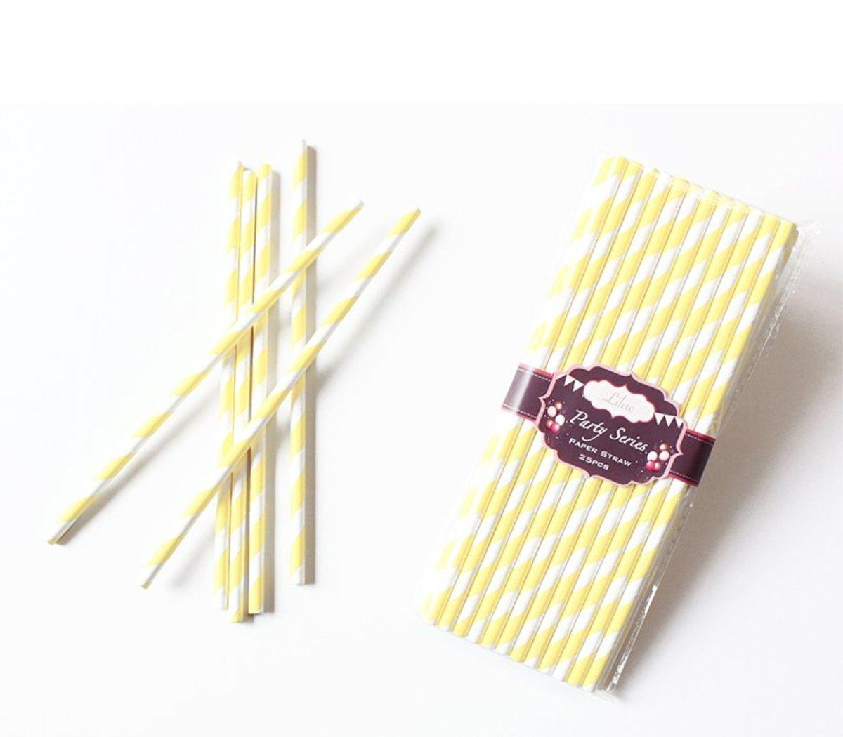 繽紛紙吸管 (淺黃色斜紋) 50pcs/PACK