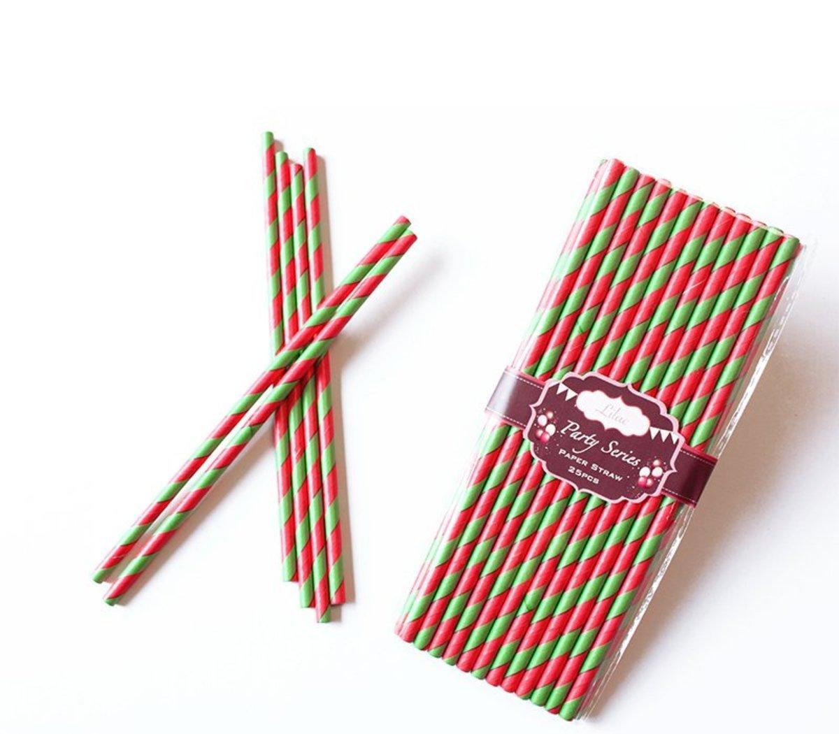 繽紛紙吸管 (紅色, 綠色斜紋) 50pcs/PACK