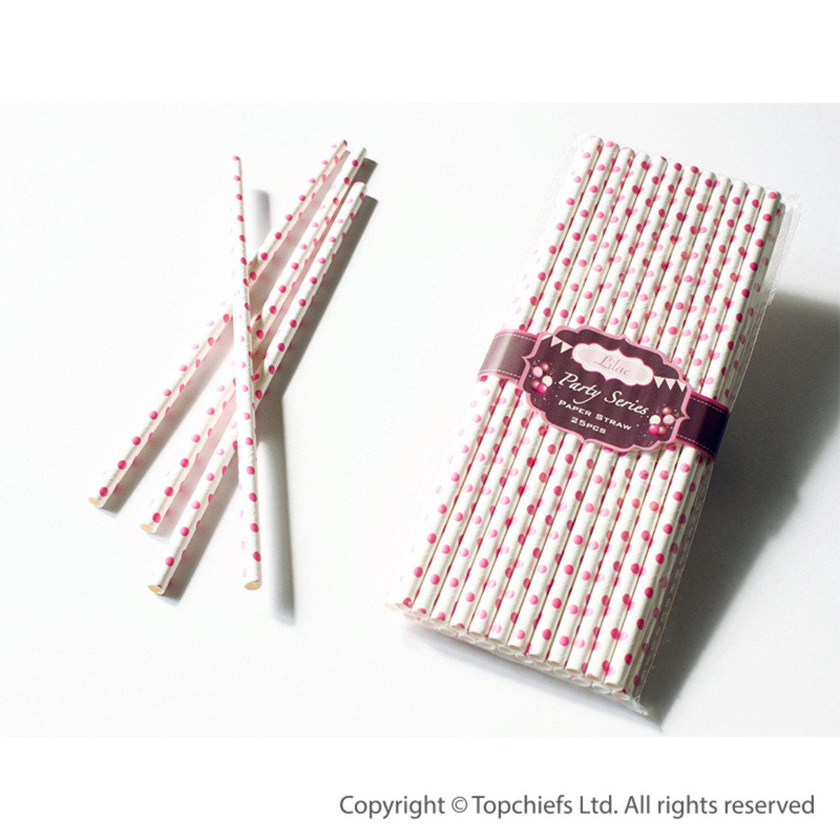 繽紛紙吸管 (白色底,粉紅色波點) 50pcs/PACK