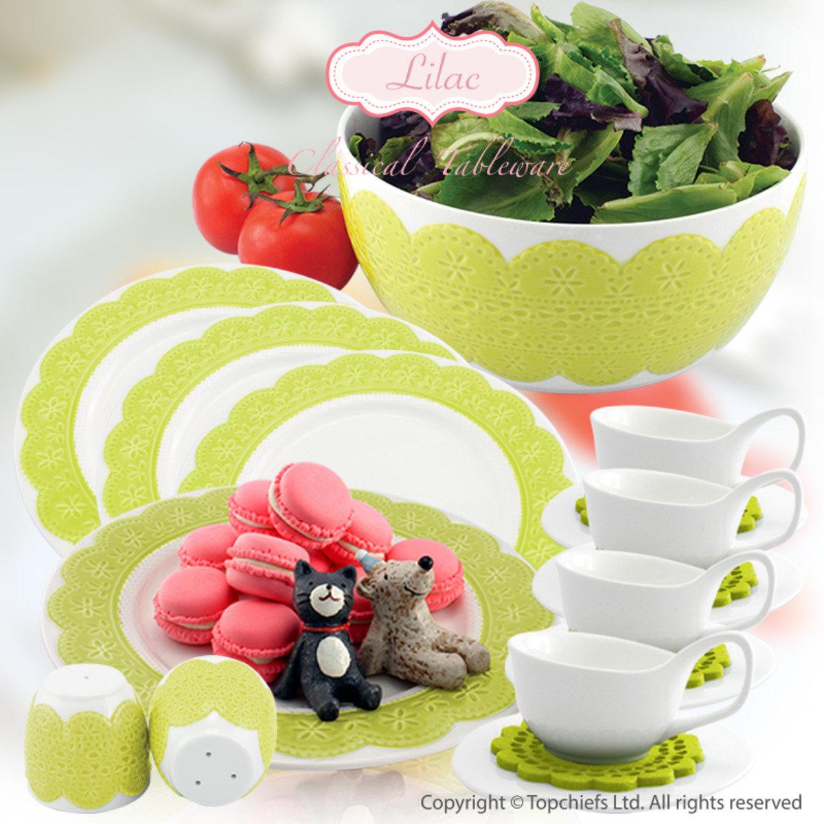 綠色立體蕾絲餐碟x4 +白色茶杯套裝配絨毛杯墊x4 +綠色立體蕾絲碗20cm+ 綠色立體蕾絲調味樽