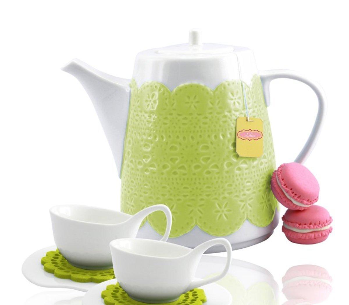 綠色立體蕾絲茶壺 x 1個 + 白色茶杯套裝配絨毛杯墊 x 2 套