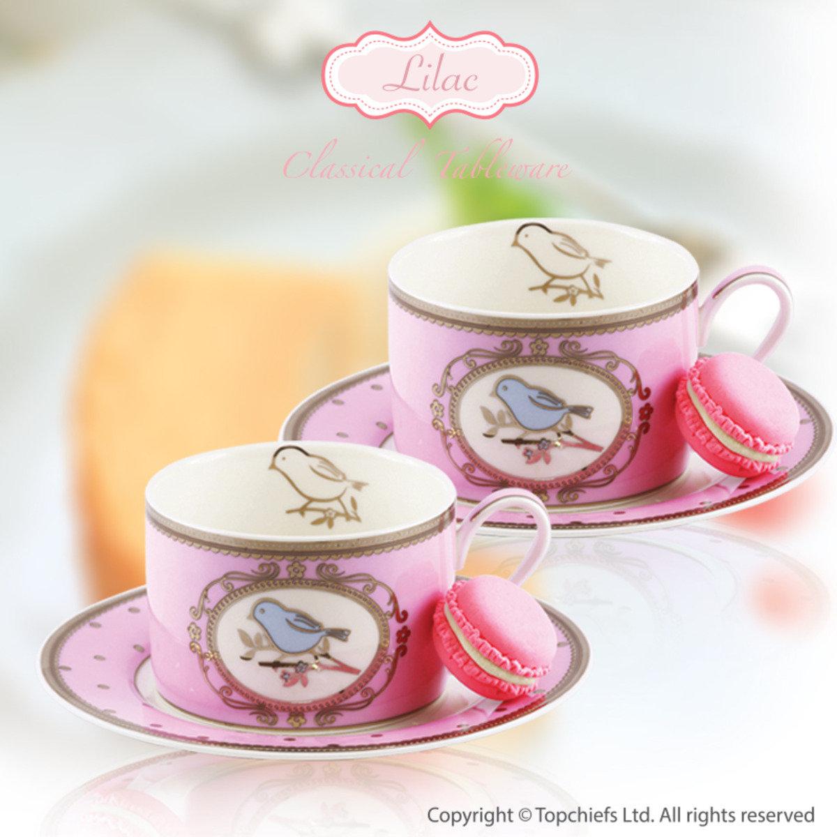 粉紅色小鳥杯及碟 x 2套