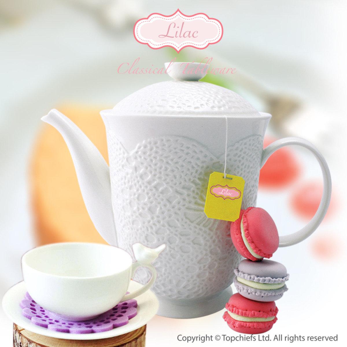 白色立體古典蕾絲茶壺+小鳥茶杯套裝