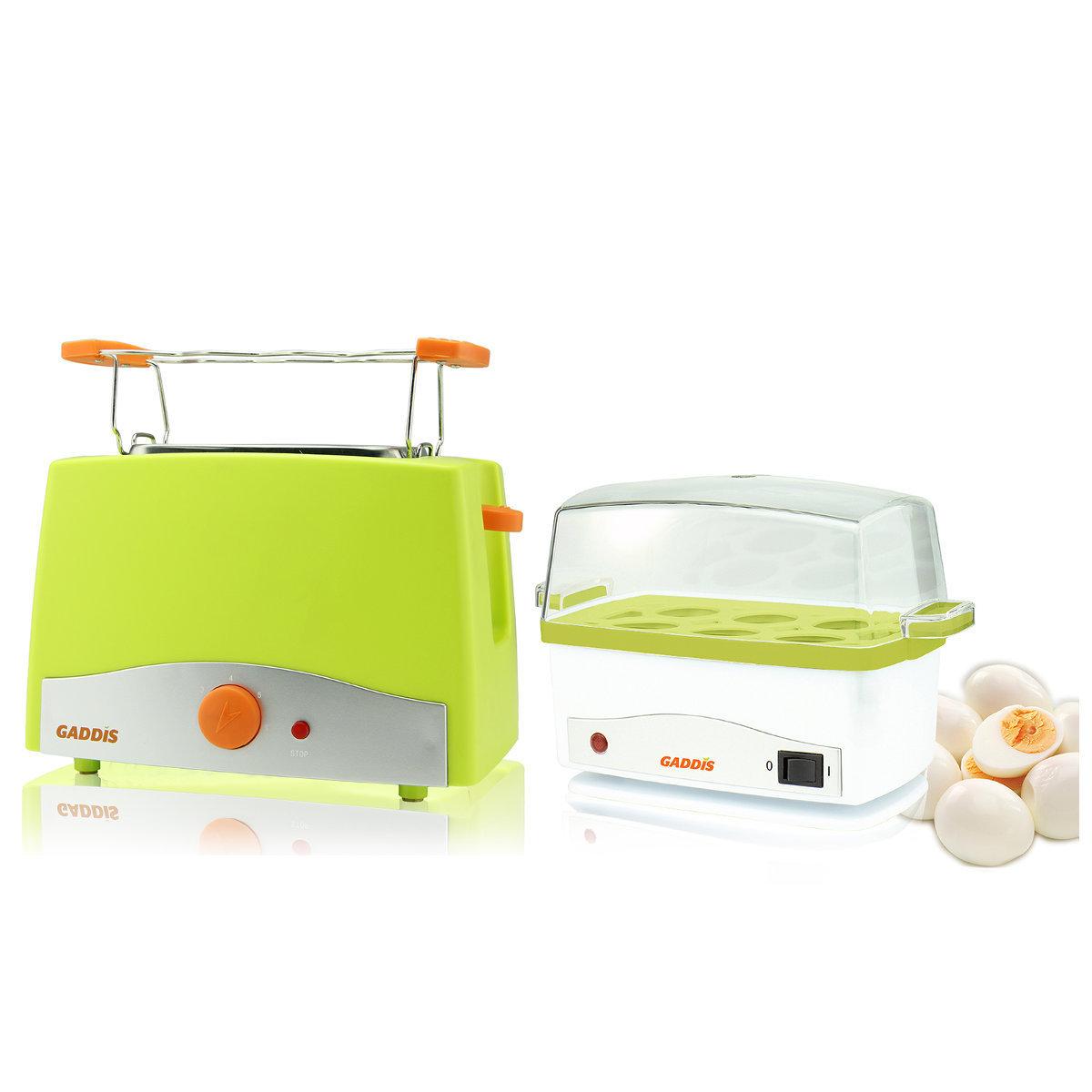 時尚多士爐 x 1 + 多功能蒸蛋蒸飯器 (綠色)