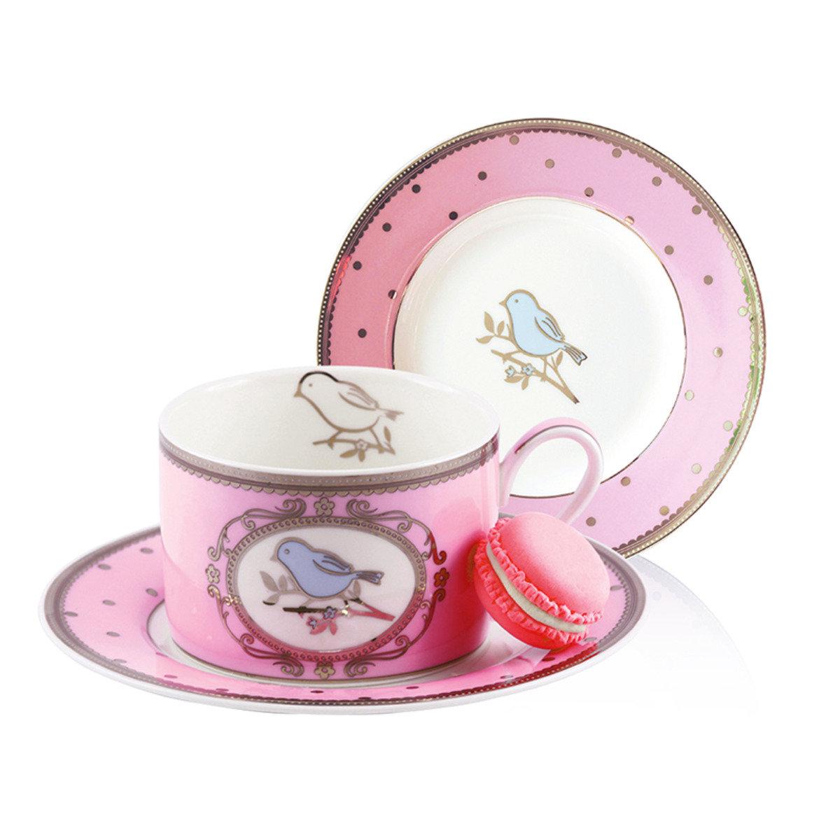 粉紅色小鳥杯及碟