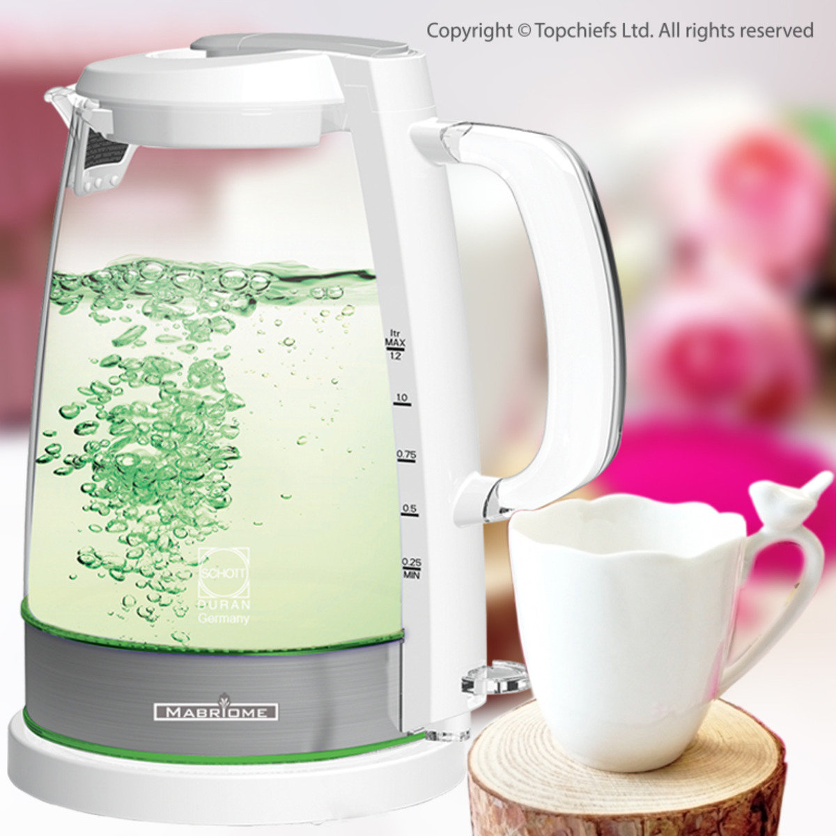 電熱德國玻璃水煲 1.2L  (淺綠光LED) x 1個 + 小鳥咖啡杯 (200ML) x 1隻