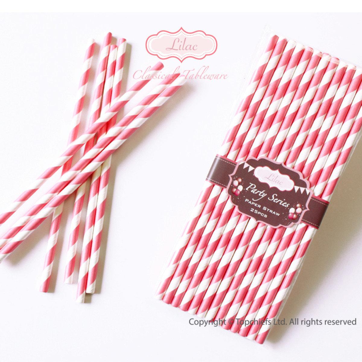 繽紛紙吸管 (粉紅色, 白色斜紋) 50pcs