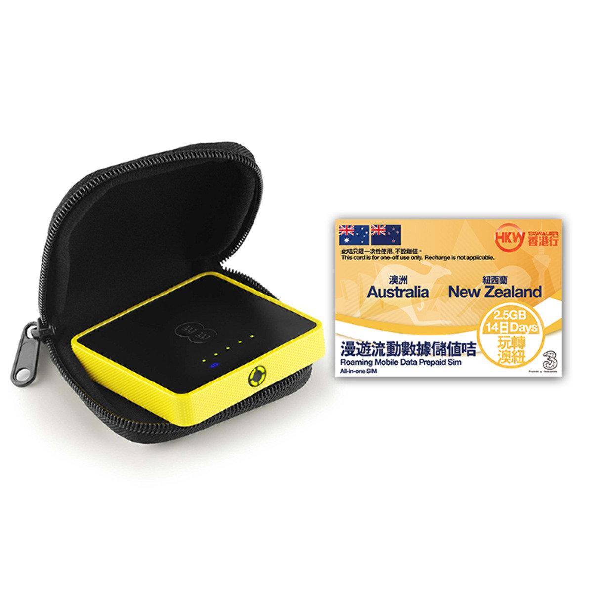HKWALKER Osprey 2 Mini Wifi蛋 + 14天2.5GB prepaid sim澳紐漫遊數據儲值咭 (expiry date:31-12-2017)