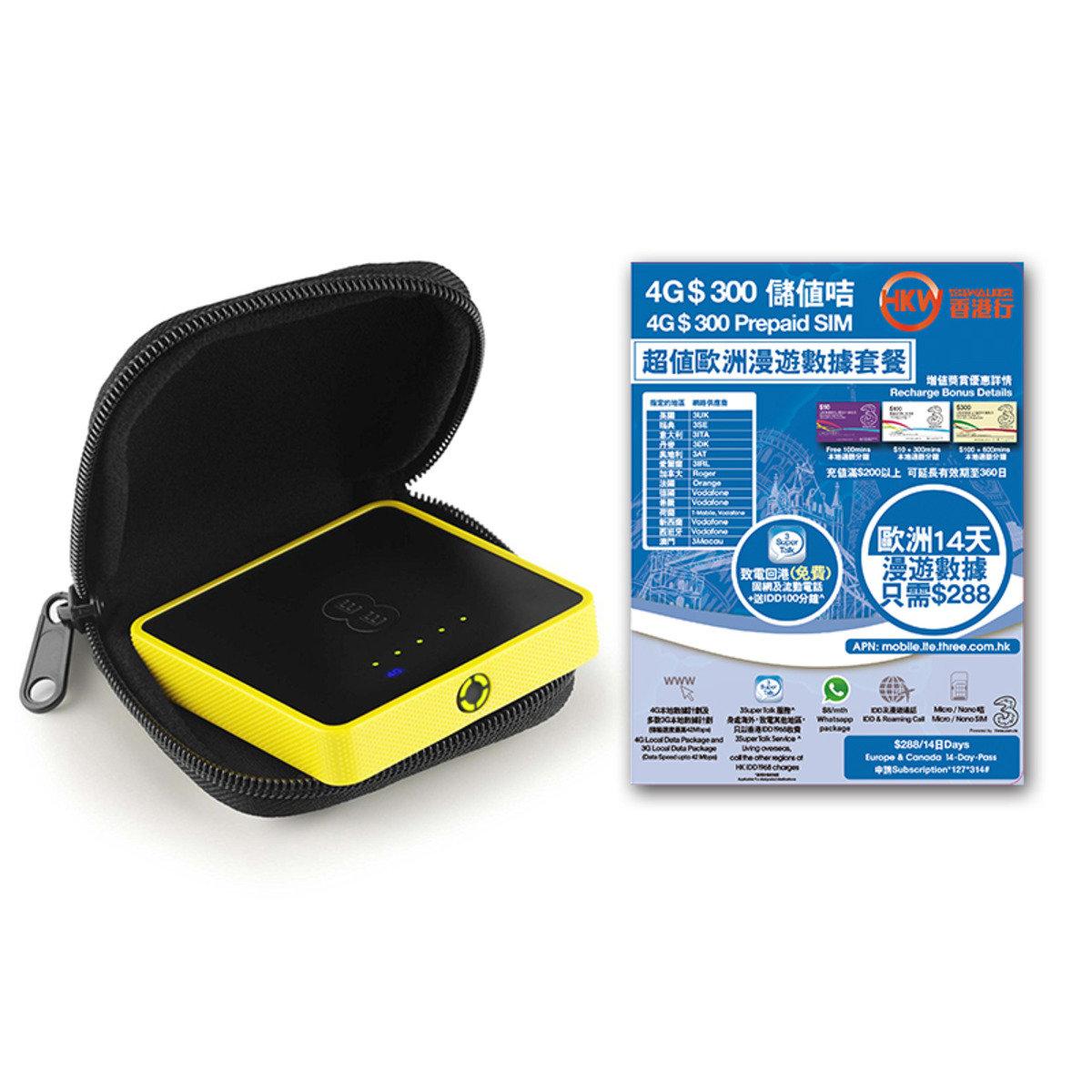 HKWALKER Osprey 2 Mini Wifi蛋 + 14天5GB prepaid sim歐洲漫遊數據咭 (expiry date:31-12-2017)