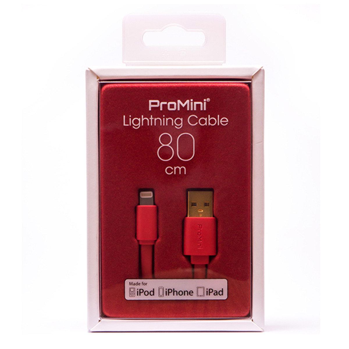 ProMini Lightning 銅製數據傳輸線 (80cm) - 紅色