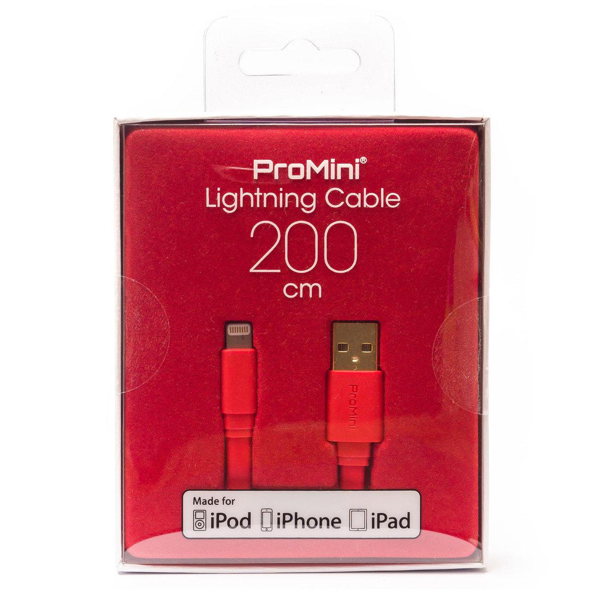 ProMini Lightning 銅製數據傳輸線 (200cm) - 紅色