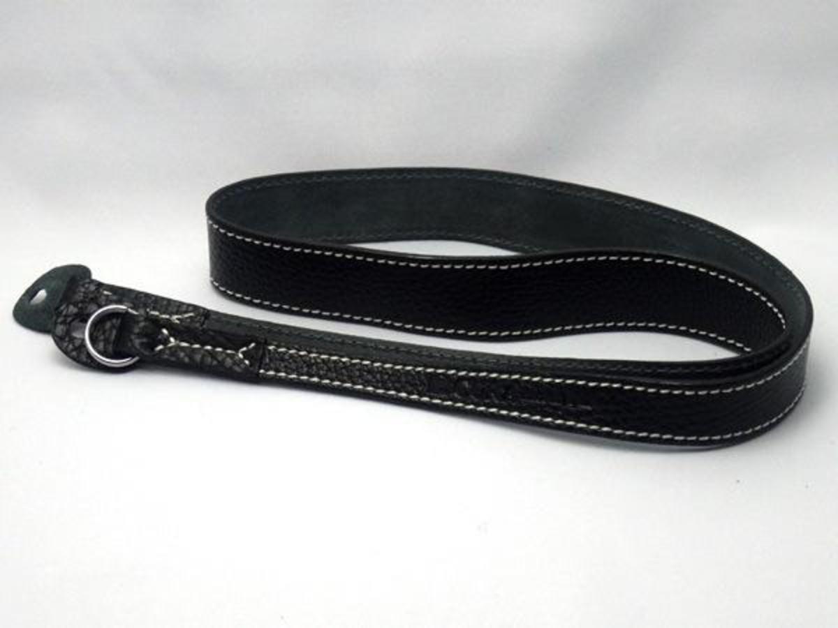 Natural Shrunk 皮革相機帶 90cm 黑皮革/白縫線