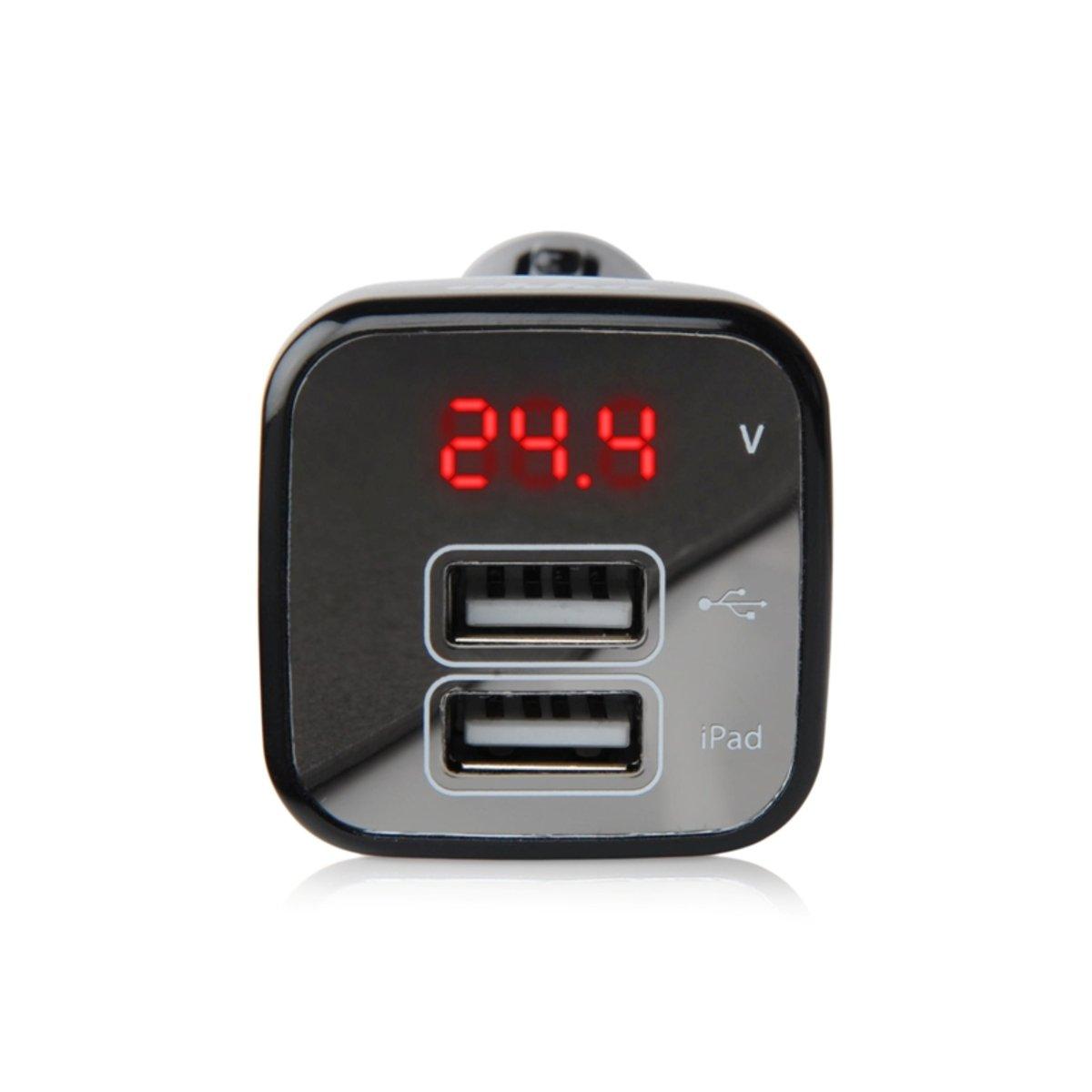 2合1汽車 2 USB 充電器連電壓儀顯示 (黑)