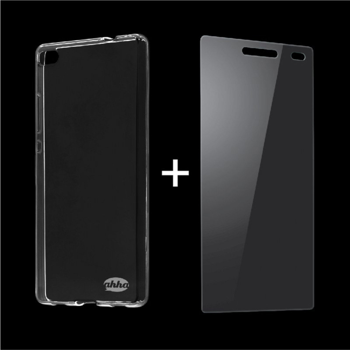 Huawei P8 Lite 手機保護殼 及 鋼化玻璃膜 套裝 (透明)