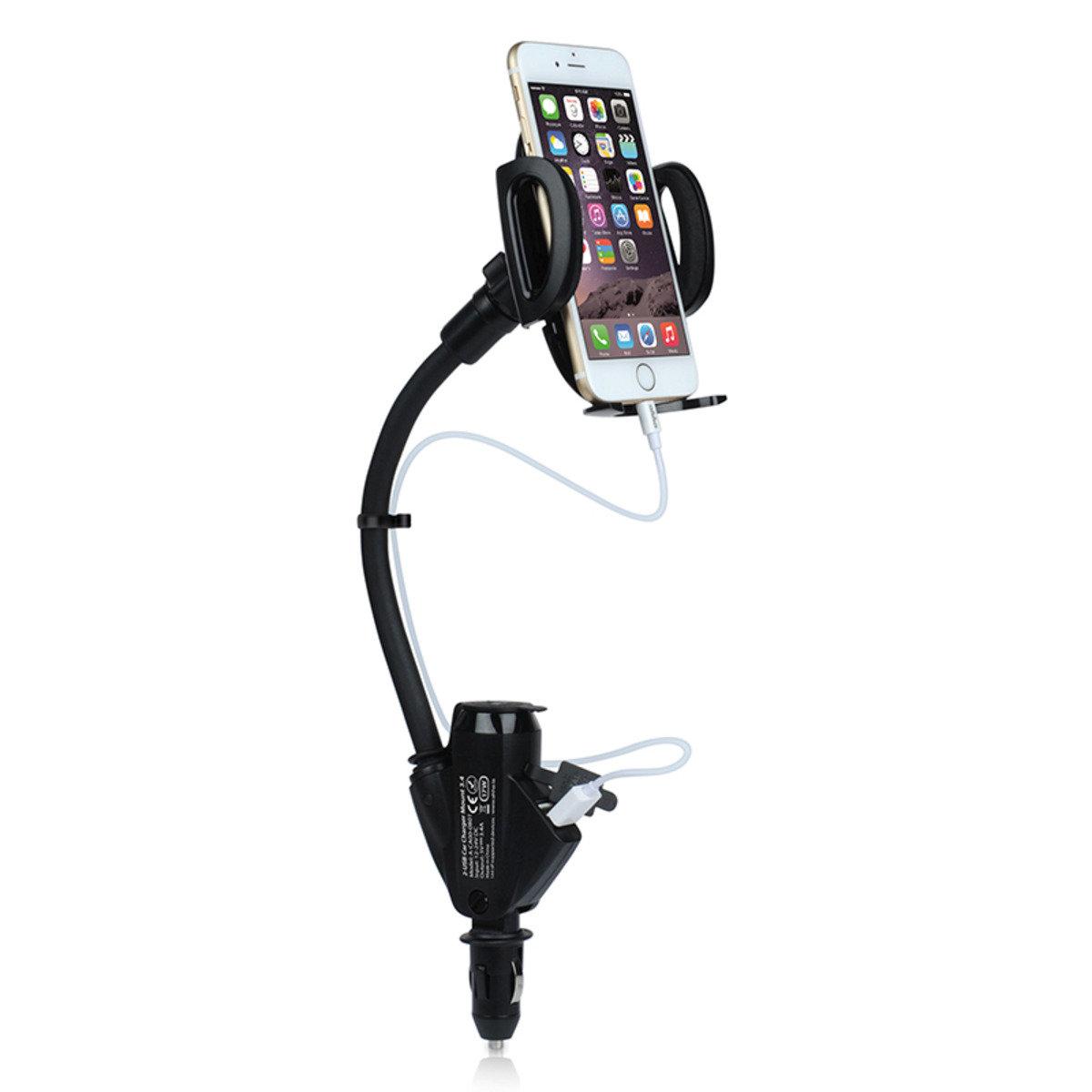 2合1汽車手機支架連 2 USB 充電器