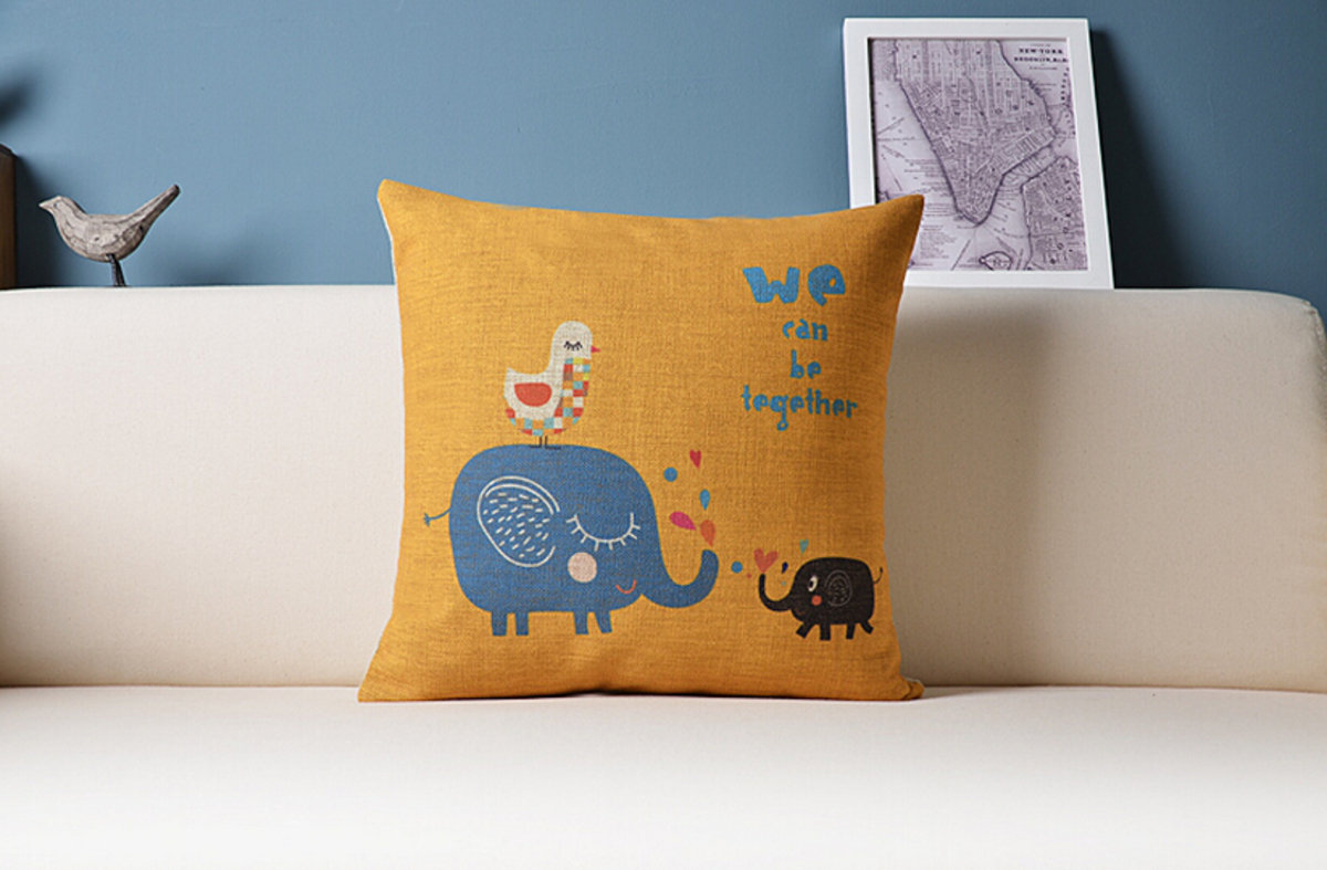 可愛大象抱枕 - C款(大象淺藍)