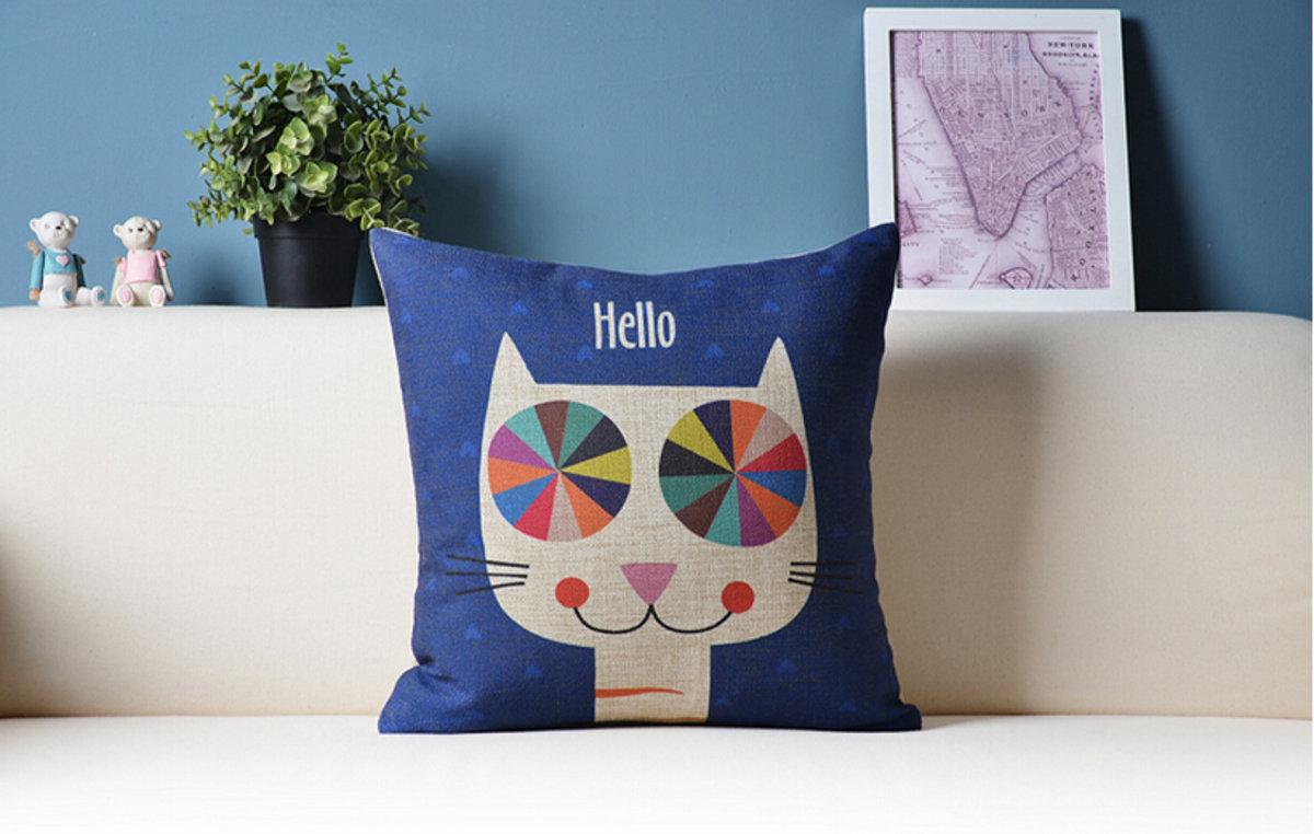 可愛貓咪卡通抱枕 - D款(Hello貓咪)