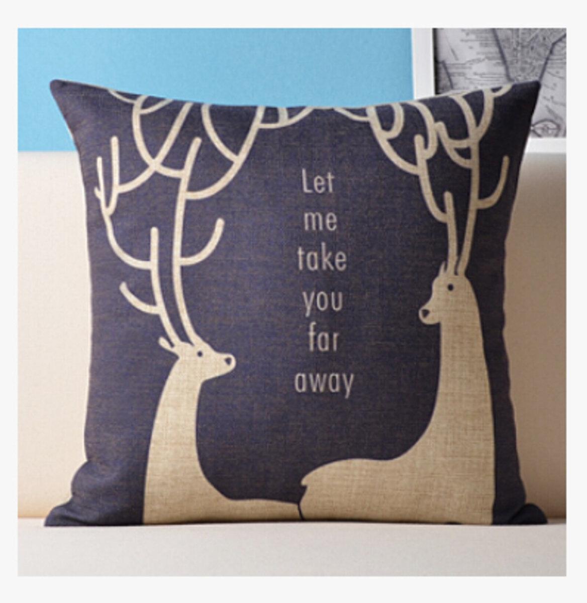 麋鹿麻棉抱枕 - A款(靈活雙鹿)