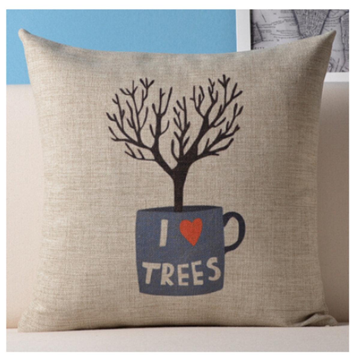 麋鹿麻棉抱枕 - B款(成長小樹)