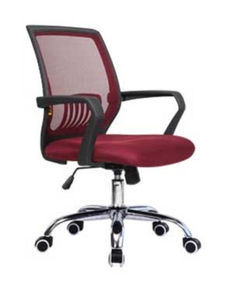 人體工學辦公椅-黑框(酒紅色)