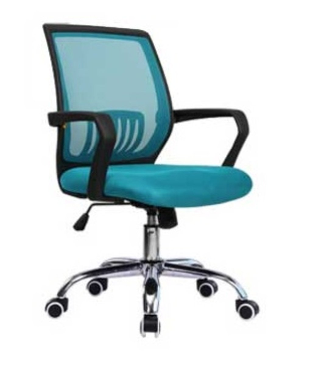 人體工學辦公椅-黑框(湖藍色)