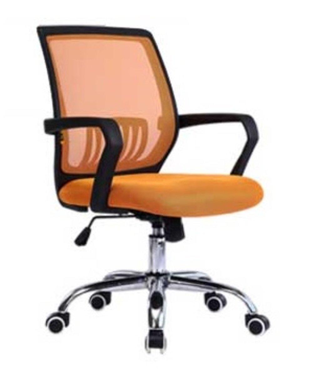 人體工學辦公椅-黑框(橘黃色)