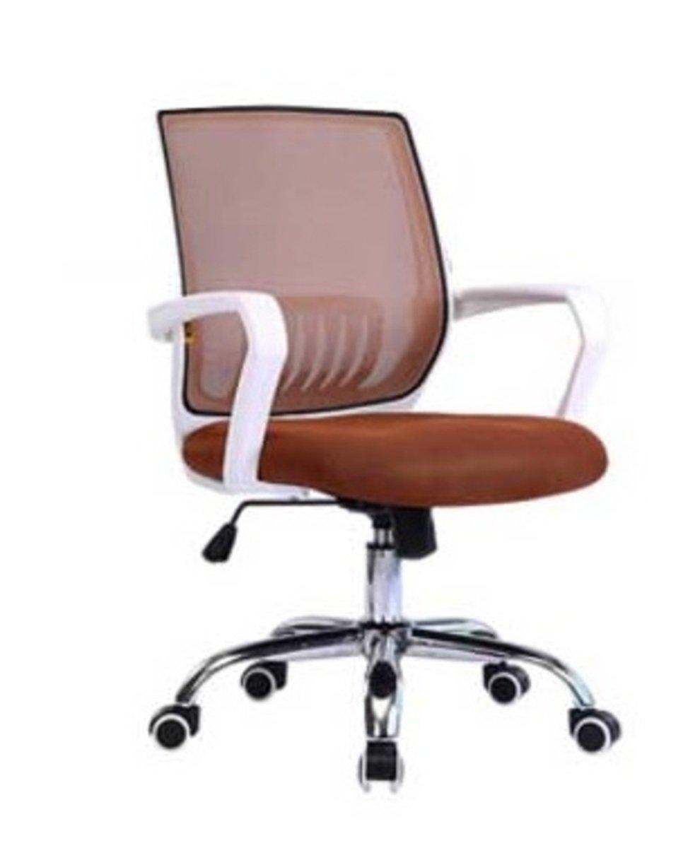人體工學辦公椅-白框(咖啡色)
